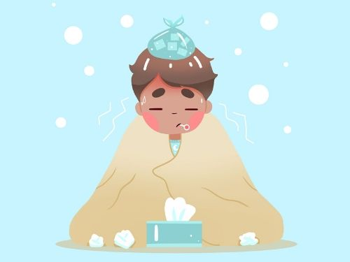 Ragazzo a letto con la febbre che suda disidratandosi
