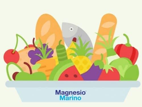 Illustrazione di un vassoio pieno di alimenti