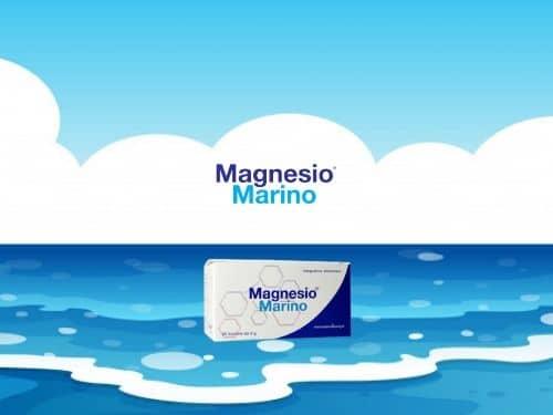 Iluustrazione del mare e di una confezione di magnesio marino
