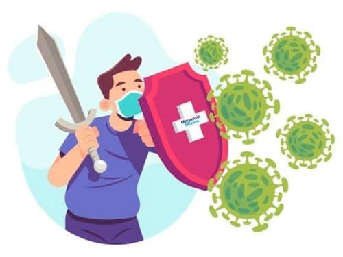 Ragazzo con spada e scudo che si difende dai virus