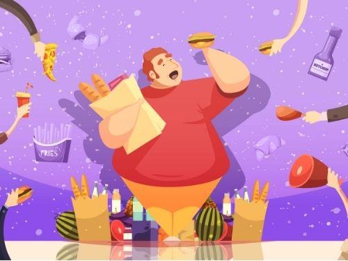 Persona mangia in modo scorretto aumentando il proprio peso corporeo e il colesterolo cativo nel sangue.