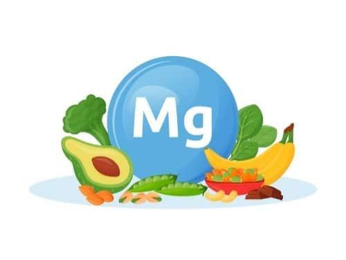 Disegno di una molecola di magnesio e degli alimenti che lo contengono